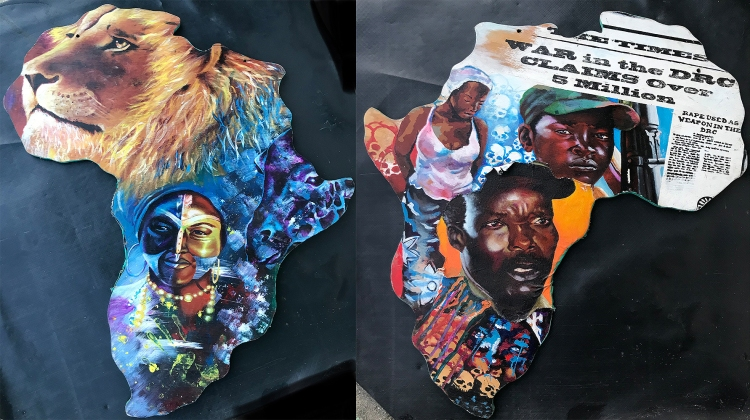 African Dichotomy 2 (2sided Painting) 38x34- $1,300